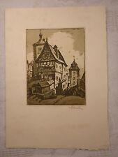 alte Grafik Radierung? Rothenburg Tauber signiert auf Faltkarte ca. 15,0x10,8 cm
