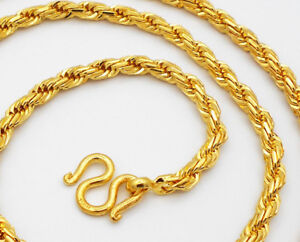 Men's Rope Chain 22K 23K 24K Thai Baht Gold Filled Yellow GP Necklace 26 inch