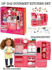 "69pc PINK Doll KITCHEN +Refrigerator Set 18"" American Girl Our Generation Dishes"