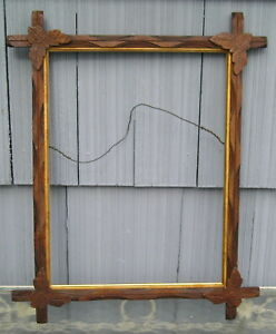 Antique Victorian Black Forest Adirondack Gilt Liner Leaves Picture Frame 12~16