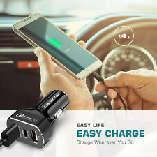 Fast Power Car Charger 3A Triple USB 3 Port Adapter Multi Device Charger Black