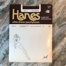Vintage Hanes Size B Ultra Sheer Pantyhose Gentle Brown Reinforced Toe Nude Heel