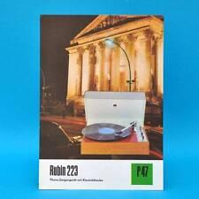 Rubin 223 Plattenspieler DDR 1974 | Prospekt Werbung Werbeblatt DEWAG P47 V