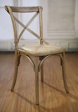 4 x Dining Chairs Oak French Provincial Cross Back Chair Cafe Style Set Hardwood