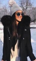 ZARA DUFFLE COAT WITH FUR COLLAR WOOL JACKET BLACK BLOGGERS EXTRA SMALL XS NEW