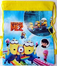 2X DESPICABLE ME MINIONS Non woven drawstring backpack bags for kids **AU Seller