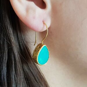 Handmade wire gem earrings. 22 Gold plated Brass in Ottoman and Turkish style.