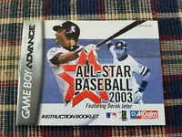 All-Star Baseball 2003 - Authentic - Nintendo Game Boy Advance - Manual Only!