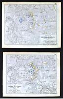 1850 Johnston Military 2 Maps - Battle of Aspern or Essling - Austria Vienna