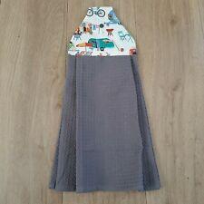 Tea towel Hanging caravan theme Cotton Charcoal Waffle Weave bottom press stud