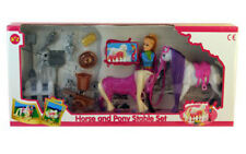 Girls Kids Doll Horse & Pony Stable Playset Toy Gift Set New