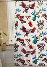 NEW Crystal Bay Shower Curtain Vinyl Tattoos Sugar Skulls Guitars Hearts Punk
