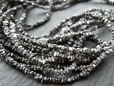 "NATURAL BLACK RAW DIAMOND NUGGETS, 2mm - 3.3mm, 16.5"" strand, 250 beads"