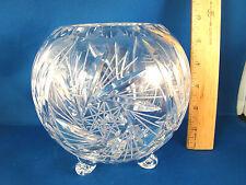 "Pinwheel Cut Crystal Clear Rose Bowl 4 3/4"" Footed @2B"
