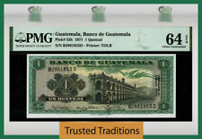 TT PK 52h 1971 GUATEMALA BANCO 1 QUETZAL ORELLANA PMG 64 EPQ CHOICE UNCIRCULATED