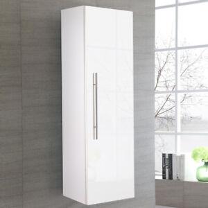 Glossy White Bathroom Wall Cabinet Slim Narrow Storage Cupboard Shelf Tallboy UK