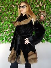 REAL NEW MINK FUR COAT JACKET TOP BLACK MEXA NERZMANTEL FOX SABLE CHINCHILLA 14