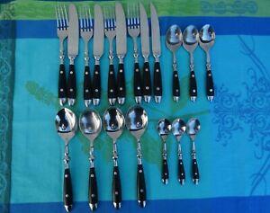 19 Tlg Bistro Besteck Frühstücksbesteck Stahl Rostfrei schwarz Landhaus