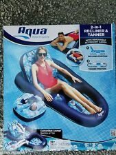 Aqua 2-in-1 Recliner & Tanner Inflatable Pool Lounger Float w/ Removeable Caddy