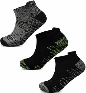 Mens Sports Trainer Ankle Socks Cushioned Liner Black Grey Low Cut Running 6-11