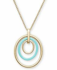 "Lucky Brand Gold-Tone, Turquoise-Tone Orbital Pendant 34"" Long Necklace"