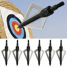 6pc Broadhead 100 Grain Arrow Head Target Fixed 3 Blade For Hunting Arche