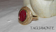 14K TAGLIAMONTE Ring*Size 6*RED Venetian Intaglio*ETRUSCAN Style*CUPID&PSYCHE*