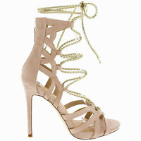 Liliana Nude Suede Lace up Strappy Open toe Stiletto Heels Women's shoes Asuka