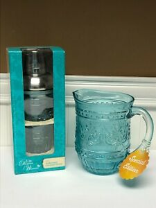 Pioneer Woman Cassie Teal Glass Embossed Pitcher&Cocktail Shaker Bundle*New*