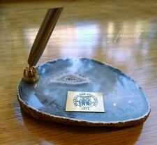Brooklyn Bar Association 1872, Agate Geode Slice Paperweight with Pen Holder