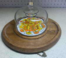Vintage Goodwood Floral Teak Wood Cheese/Butter Board w/Glass Dome Or Wall Decor
