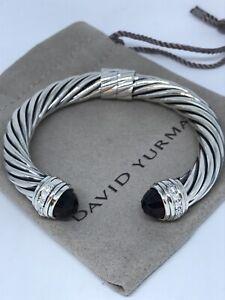 David Yurman 925 Silver 10mm Cable Classic Cuff Bracelet w/Garnet & Diamond
