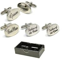 BOXED SILVER OVAL mens wedding cufflinks cuff link Groom best man usher page