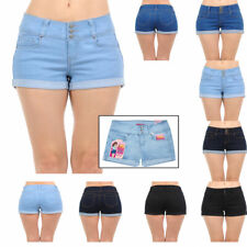 Womens Juniors Body Shaping Mid Rise Denim Shorts