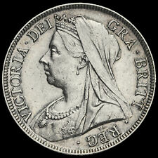 More details for 1897 queen victoria veiled head silver half crown, ef