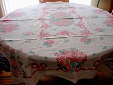 """VINTAGE TABLE CLOTH~ROSES RIBBONS & BOWS~~GOOD CONDITION~GREAT FOR TEAS~~50""""X58"""""""