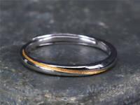 Silberring Schmal Schlicht Glatt Golden Rillen Ring Silber 925 Verstellbar Offen