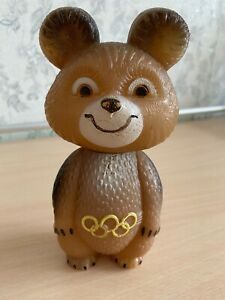 Olympic Games 1980 Misha Mascot Plastic Toy Moscow USSR Russian Soviet Vintage