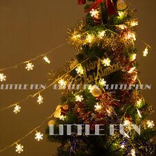 10M 100 LED Lichterkette Schneeflocken Weihnachten Kabel Beleuchtung Dekoration