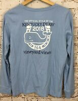 Vineyard Vines Kentucky Derby shirt top mens medium 144th blue 2018 long slv J1