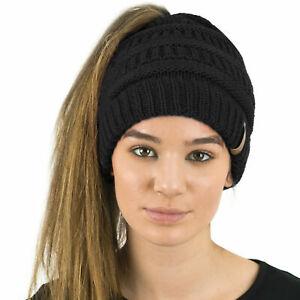 Women's Ladies Ponytail Beanie Skull Cap Winter Soft Stretch Cable Knit High Bun