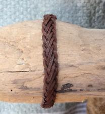 Bracelet réglable ado ou homme en cuir tressé marron chocolat