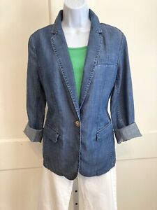 Talbots Blue Denim Soft Blazer Single Breasted Unlined Jacket Size M