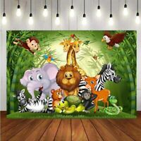 Jungle Safari Animal Backdrop Baby Shower Birthday Party Photo Background Banner