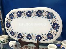 12''x16'&# 039; Marble Coffee Table Top Lapis Lazuli Inlay Floral Art Patio Decor E122