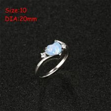 Gemstone Lady White Fire Opal 925 Silver Heart Jewelry Ring Size 5-11