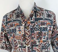 Toucan Dance Large Hawaiian Camp Shirt Tribal Tiki Wild Colorful 100% Cotton