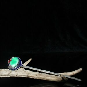 """6.1"""" Exquisite Chinese antique copper inlay jade Handmade Cloisonne Hairpin"""