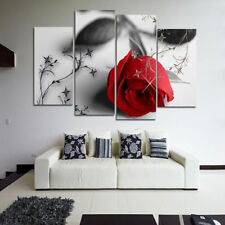 Red Rose Flower Modern Oil Painting Print Canvas Picture Wall Home Bedroom Decor