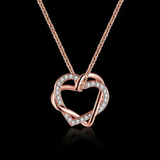 Elegant 18k 18CT Rose Gold Filled GF Double Heart Pendant Chain Necklace N479